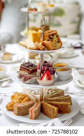 High tea set with dessert, sandwich