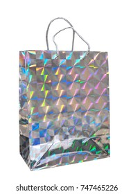 High tech hologram effect carrier bag, shopper. Isolated on white background.