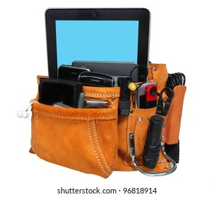 High Tech Tool Belt/Isolation against white of suede & leather tool belt with cell phones, PDAs, digital cameras & other high tech gizmos in place of traditional tools. Clipping path included.