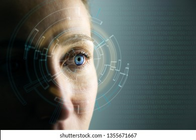 High Technologies in the future. Young woman's eye and high-tech concept, augmented reality display, wearable computing