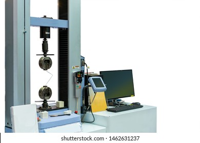 high technology and accuracy of automatic two vises tensile strength testing machine for material property test and analysis with monitor screen for result display isolated on white with clipping path