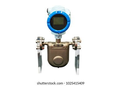 High technology and accuracy of online density meter measurement and control liquid or gas for industrial work isolated on white background