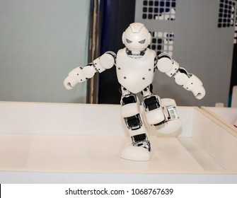 High Technology Future and Science Concept. Smart Humanoid Robot Dancing.