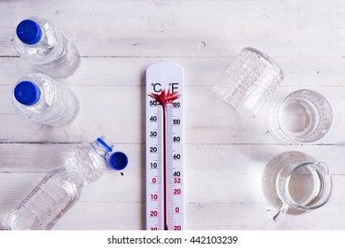 High temperatures, hot sunny weather concept. Thermometer explodes. Water and bottles on a white wooden table.