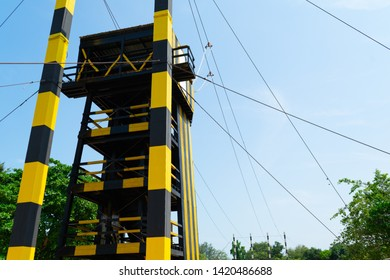 High tower is ceremony of military for jump high hall of fame with sling that the army cadets have to pass in training of 34 foot jumping for soldier test physical and mental fitness.