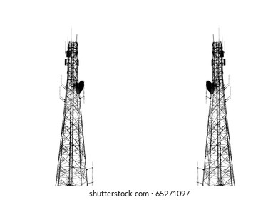 High transmitter tower isolated on white