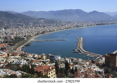 High view of Alanya bay in Turkey.