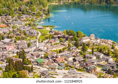 High up view of alpine town St. Gilgen on Wolfgangsee lake on a beautiful sunny day. Salzburger Land, Austria