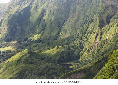 High view of Azores landscape in Flores island. Waterfalls in Pozo da Alagoinha. Portugal