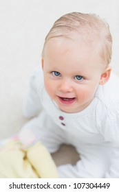 High view of a baby in sitting room