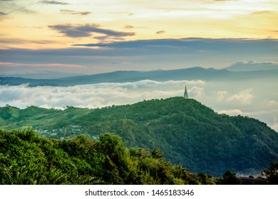 High view beautiful nature landscape of the mountain sky and forest in the morning on the hilltop viewpoint at Phu Thap Berk attractions of Phetchabun Province Thailand