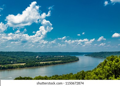 High View of Bend in Ohio River with Blue Sky and Clouds