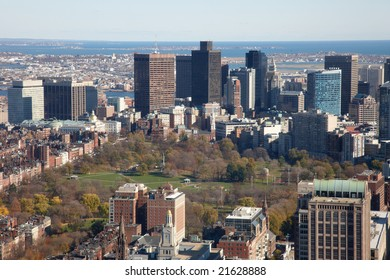 High view of Boston Common and Public Garden from From Observation Deck Of Prudential Tower.