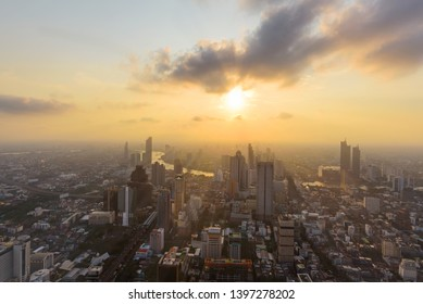 High view of high building in the Bangkok city in Sunset time