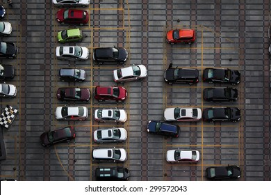 high view of car park, aerial