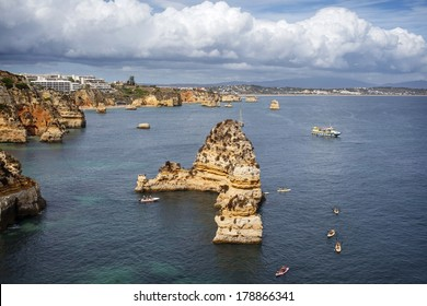 High view of the coast in Lagos, Algarve, Portugal