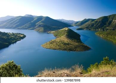 high view of Kardjali lake, Bulgaria in summer