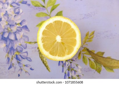 HIgh view of a lemon with a floreal background