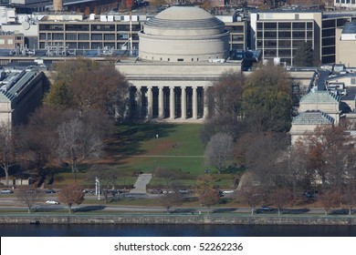 High view of M.I.T. Main Building with Great Dome from the Observation Deck of the Prudential Tower.