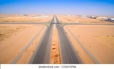 A high view for new road in the desert