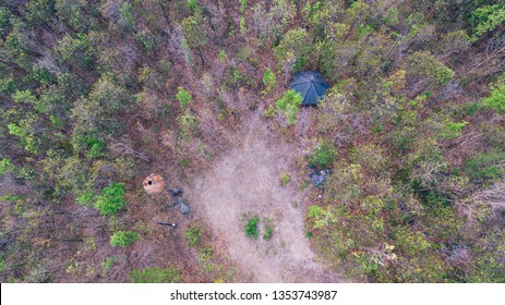 High view of the park in summer of Thailand.Tropical Forest National Park in Thailand.Tranquility on a farm