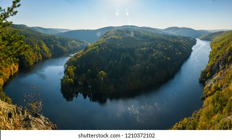 High view point above river Vltava in Czech Republic at sunny day. U-shaped river. Smetanova vyhlídka. Smetana viewpoint.