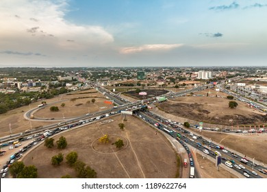 High view point cityscape of Accra, Ghana. Traffic jam on the Tetteh Quarshie Interchange Connecting N4 Legon East Road with N1 Tema Motorway Aflao Road.  Northern Accra on the background