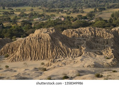 High view of the pyramids of Tucume in Lambayeque - PERU