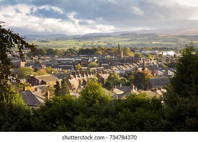 High view of the skyline at Penrith in Cumbria, England at sunset.