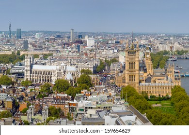 High View of Westminster Abbey and Palace of Westminster in London, UK