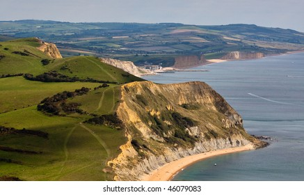 A high viewpoint of the Jurassic coastline in Dorest taken from Golden Cap
