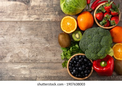 High in vitamin C food on wooden table. Copy space