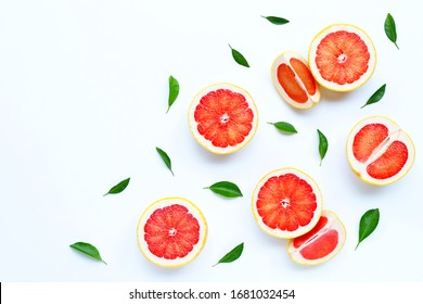 High vitamin C. Juicy grapefruit on white background.