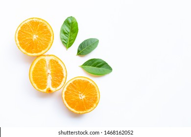 High vitamin C, Juicy and sweet. Fresh orange fruit with green leaves  on white background. Copy space
