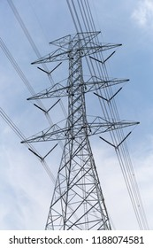 High volt transmission line electric pole.