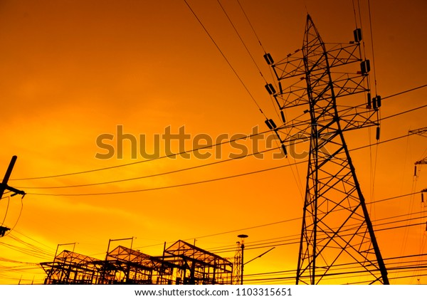 High Voltage Cables with sky