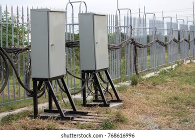 High Voltage Cables,hanging on the fence,panel,support