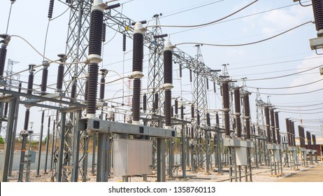 High voltage circuit breaker and disconnecting switch in electrical substation