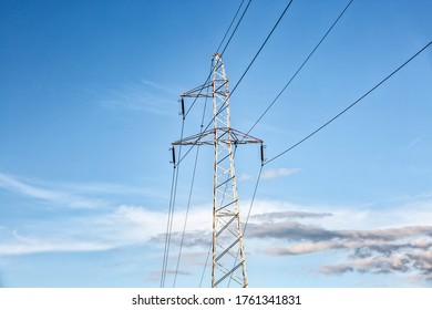 High voltage electric pole under the blue sky