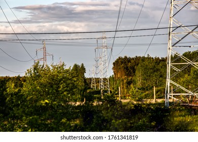 High voltage electric poles with a forest background