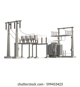 High voltage electric power substation on white. 3D illustration