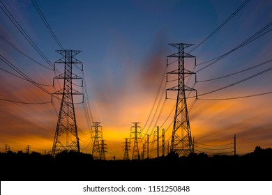 High voltage electric tower on sunset time and sky on sunset background. Power Tower