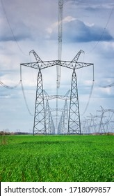 Tour électrique haute tension le matin.  arrière-plan ciel. Power Tower