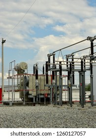 High Voltage Electric Tranformer with Blue Sky