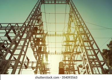High voltage electric transformer station.