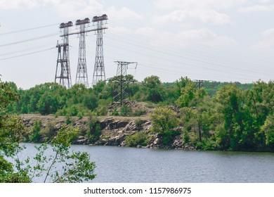 High Voltage Electric Transmission Tower Energy Pylon.