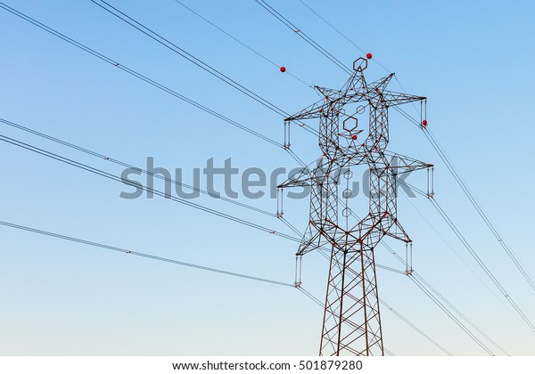 High Voltage Electric Wires Clown Shape Stock Photo (Edit ... on