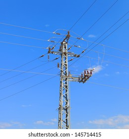 High voltage electricity pillars on the blue sky background