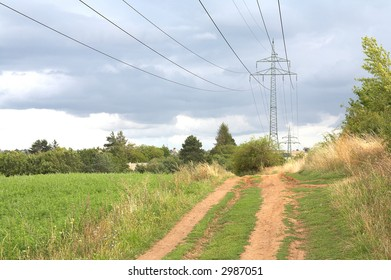 High voltage electricity pylon in the landscape.