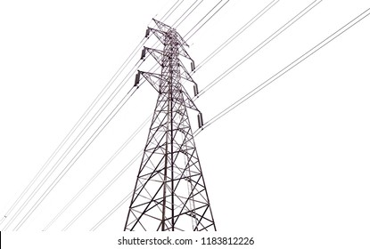 High voltage electricity pylons, tall tower structure electricity wires high above the ground